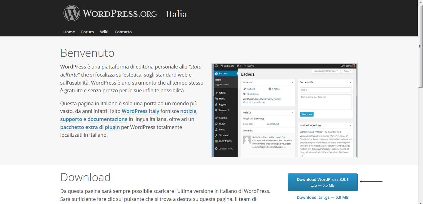 Pagina di it.wordpress.org